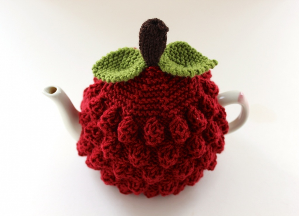 Hand-knitted Raspberry Tea Cosy in pure wool by Tafferty Designs.jpg